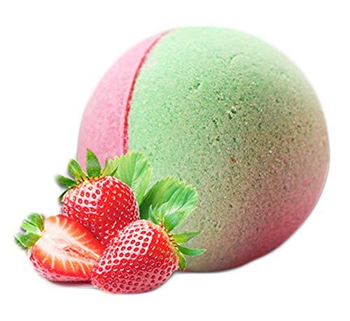 Bio-Badebomben ätherisches Öl Sprudelbomben, vegane bunte Badesalze, duftende Whirlpool-Accessoires, Geschenk, entspannende & beruhigende Badebombe Strawberry Macaron -
