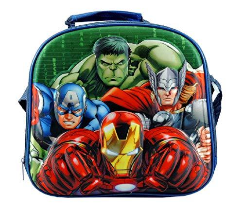 Av avengers borsa porta pranzo merenda termico in 3d con tracolla 25x25x7cm blu