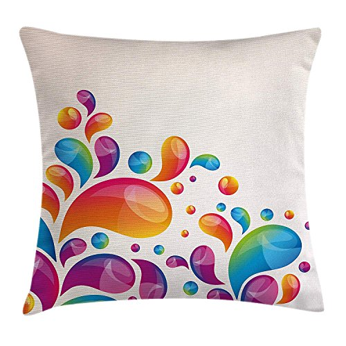 Colorful Home Decor Throw Pillow Cushion Cover, Cute Raindrops in Different Size in Gradient Colors Abstract Splash Style, Decorative Square Accent Pillow Case, 18 X 18 inches, Multi