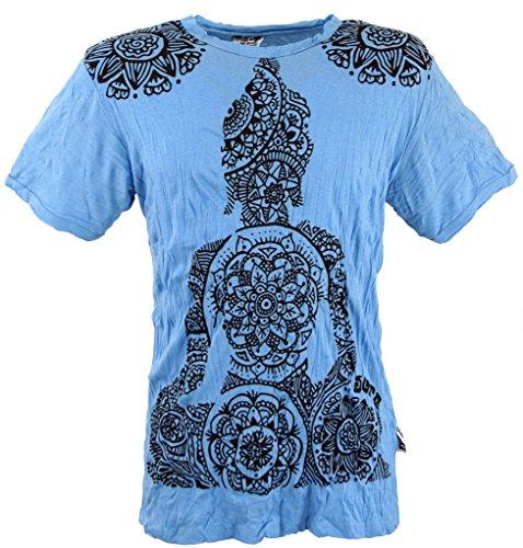 GURU-SHOP, Camiseta Sure T-Shirt Mandala Buddha, Azul Claro, Algodón, Tamaño:M, Camisetas Seguras