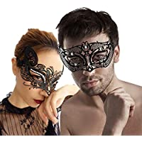 sky tears Diamante Metal Máscara de Pareja Encaje Sexy Máscara para Carnaval de Halloween (Negra F)