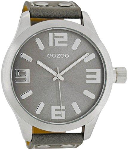 Oozoo Herrenuhr mit Lederband 51 MM Silbergrau/Grau C1007
