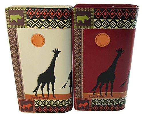 Shagwear portafoglio per giovani donne , Large Purse : Diversi colori e design: safari africano rosso/ African Safari