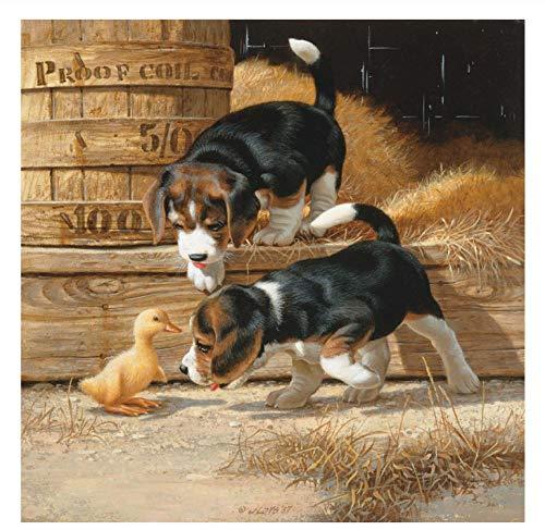 Lovefyl Diamond Painting Set Voller Runder Bohrer Yard Hund Entlein Bilder Kunst Wanddekoration Für Erwachsene Und Kinder 50X50Cm