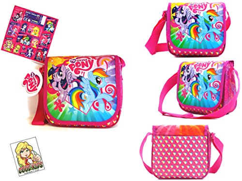 My little Pony 2 TLG Super Set -Tasche/Umhängetasche mit glitzender Vorderseite (23 x 21 x 9 cm) + 12 Equestria Girls Sticker Fans (Pony Babys Little My)
