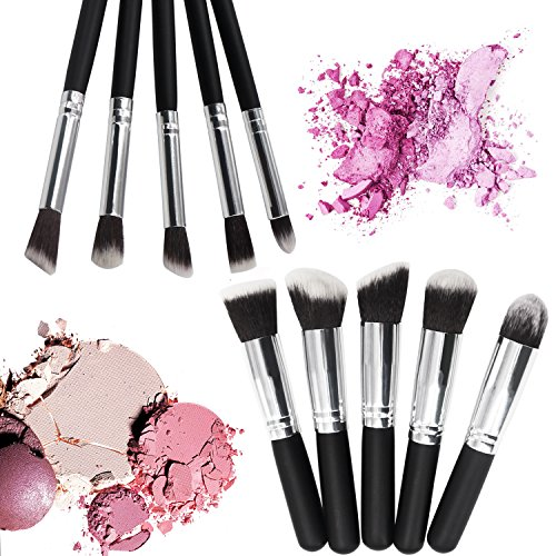 Lot de pinceaux de maquillage professionnel Poignée Premium Synthétique Pinceau Kabuki Fond de teint Mélange Blush Correcteur Oeil Visage Liquide Poudre Crème Cosmétique Lèvres Pinceau Outil Pinceaux Kit 10 pcs