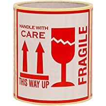 """250 Aufkleber """"Fragile. This Way Up. Handle With Care"""", Etiketten, groß 10 x 10 CM White-red - 250 Stück"""