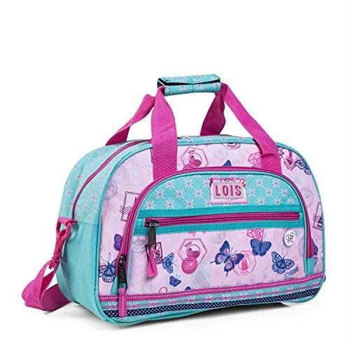 LOIS - 54140 Bolsa infantil de Poliéster. Con doble asa y bandolera ajustable. Multifuncional: viaje, deporte, gimnasio, colegio, etc, Color Rosa