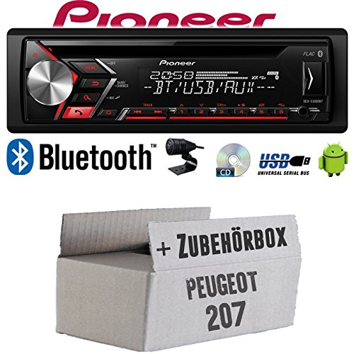 Autoradio Radio Pioneer DEH-S3000BT - Bluetooth | CD | MP3 | USB | Android Einbauzubehör - Einbauset für Peugeot 207 - JUST SOUND best choice for caraudio (Autoradio Beste)