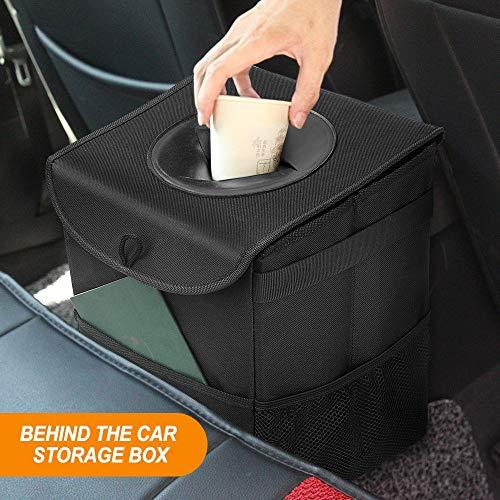 Samoleus Universale Cestino per Spazzatura da Auto, Pieghevole Impermeabile Car Trash Can con Copertura e tasche portaoggetti per Auto