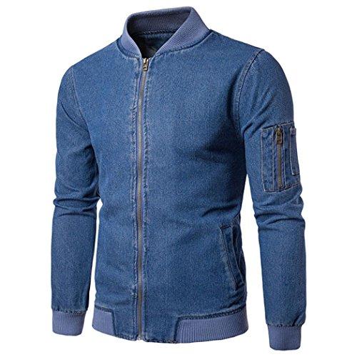 Gewaschene Jeansjacke Herren, DoraMe Männer Herbst Winter Jeans Mantel Mode Feste Farbe Strickjacke Zipper Outwear Sweatshirt (Blau, M)