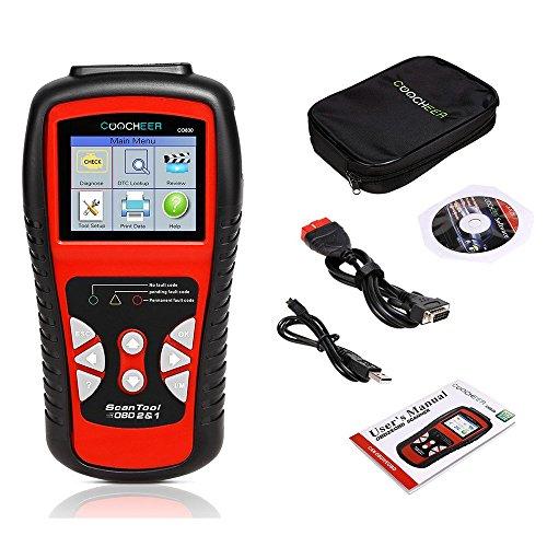 Sailnovo Diagnostic Auto OBD2 Lecteur De Code De Défaut Véhicule Voiture Outil D'analyse Diagnostic Automatique Lecture Ecran Couleur LCD (rouge, 25*19*7cm) (rouge, 25*19*7cm)