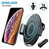 Caricatore Wireless Auto,10W Qi Ricarica Rapida Wireless Auto Vento(con QC3.0 Adapter) per Huawei Mate 20 Pro, Samsung Galaxy S9/S9+/Note 9/S8/S8+/S7, 7.5W Car Wireless Charger per iPhone 8 sopra