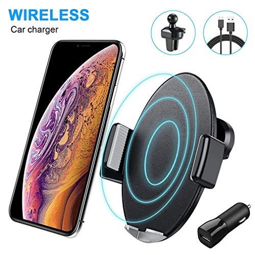 Caricatore Wireless Auto,10W Qi Ricarica Rapida Wireless Auto Vento(con QC3.0 Adapter) per Huawei Mate 20 Pro, Samsung Galaxy S9/S9+/Note 9/S8/S8+/S7, 7.5W Car Wireless Charger per iPhone 8 so