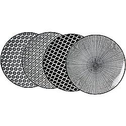 Ritzenhoff & Breker-Plato sopero, porcelana, color blanco y negro, 27x 27x 2cm, 4piezas