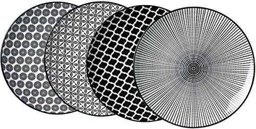 Ritzenhoff & Breker Lot DE 4 Plaques de Service Porcelaine, Blanc et Noir, 27 x 27 x 2 cm