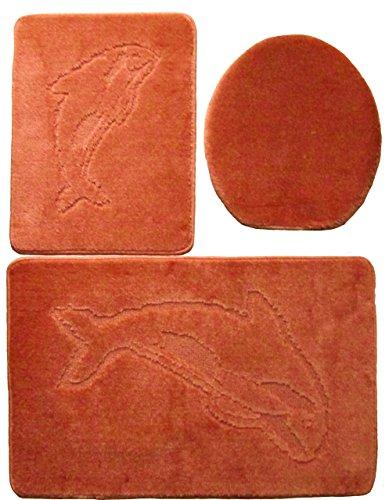 Delfin Badgarnitur 3 tlg. Set 55x85 cm Terracotta WC Vorleger ohne Ausschnitt geprüft nach OEKO-TEX Standard 100