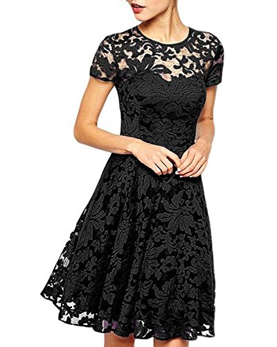 Lace Party Cocktail Bodycon Club Kurz Abend Minikleider Schwarz EU 38/US 6 ()