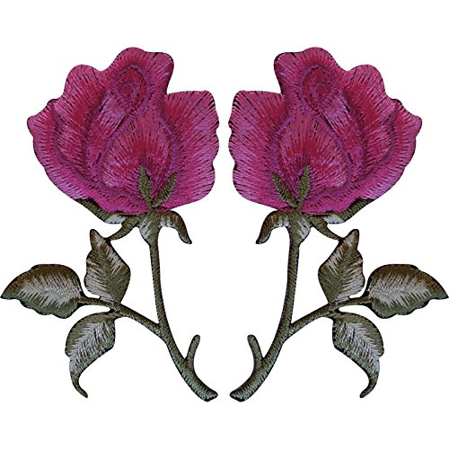 pair-of-pink-rose-patches-iron-sew-on-jacket-t-shirt-jeans-flower-patch-badge