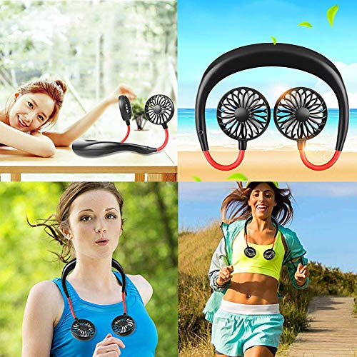 Dastrues Neck Hanging Lazy Fan Lazy Neck Hanging Cooling Mini Fan LED Light Portable USB Rechargeable Neckband for Sport