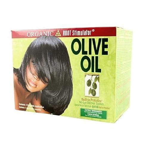 Organic Root Stimulator Olive Oil Relaxer Extra Strength 1.75Oz Creamy Aloe Shampoo, 1.75Oz Replenishing Pak, 0.25Oz Moisturizing Hair Lotion, 6.5Oz Relaxer Base, 1.5Oz Relaxer Activator, 1 Ozwrap/Set Mousse, 1 Pair Latex Gloves, 1 Mixing Stick, Instruction by Organic Root Stimulator