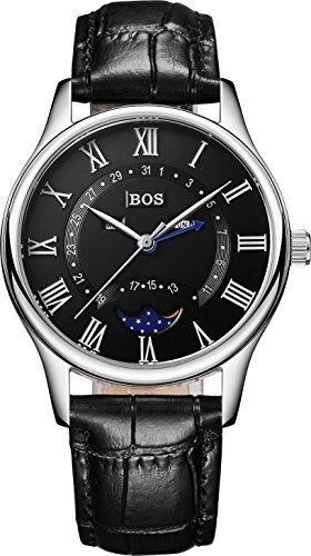Angela Bos negocios de hombres de cuarzo Dial negro piel de becerro negra impermeable Relojes banda de cintura 8002g
