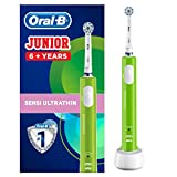 Oral-B Junior Kids Electric Toothbrush Rechargeable for Children Aged 6+: 1 Children's Electric Toothbrush Rechargeable Handle and 1 Sensitive Toothbrush Replacement Head Powered by Braun, Green
