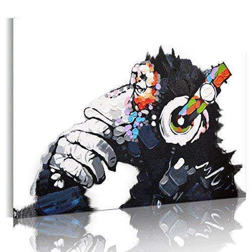 RAIN QUEEN 75X50cm Impression sur Toile Grand Format Le Gorille Aime Musique 1 Partie Décoration Chambre Wall Art (Pret a Accrocher)
