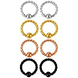 BodyJ4You Women's 8pcs Closure Ring Piercing-Hoop-Kit 14g geflochtener chirurgischer Stahl Knorpel 1.6mm