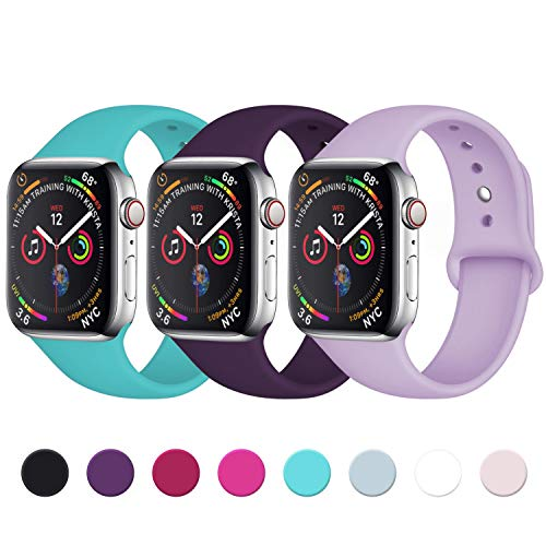 Lerobo Sport Correa para Apple Watch Correa 38mm 42mm 40mm 44mm, Pulsera de Repuesto de Silicona Suave Correa para Apple Watch Series 4/3/2/1, 42mm/44mm M/L Turquesa/Ciruela/Lavanda