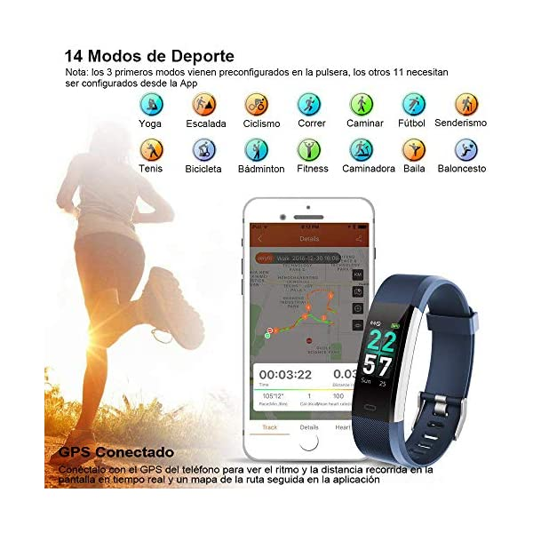 Rayfit Pulsera Actividad Inteligente Reloj Deportivo Impermeable Fitness Tracker Monitor de Ritmo Cardíaco Podómetro… 6