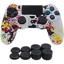 YoRHa Transferencia de agua camuflaje de impresión silicona caso piel Fundas protectores cubierta para Sony PS4/slim/Pro Mando x 1 (pintada) Con PRO los puños pulgar thumb gripsx 8