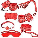 7pcs DBSM bondage kit collare corda di cotone fruste bocca palla occhiali combinazione di sesso alternativo giocattoli sesso femminile abuso vestito,red