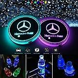 VILLSION Auto Portabevande LED Impermeabile Luce a LED 7 Colori Ricarica USB Portabottiglie Auto LED Decorazione per Interni Lampada Atmosfera Auto (Mercedes Benz)