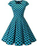 Homrain Damen 50er Vintage Retro Kleid Party Rockabilly Cocktail Abendkleider Blue Black Big Dot L