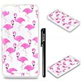 "Coque Wiko Lenny 3, Wiko Lenny 3 Etui TPU, Btduck Coque TPU Silicone Housse [Étui en Transparent couleur] Transparente Coque Slim Case Anti-Watermark Coque Painting Transparente case Flexible Souple Coque De Protection pour Wiko Lenny 3(5.0"") + 1X Noir Stylet Touchscreen Pen - Flamingo"