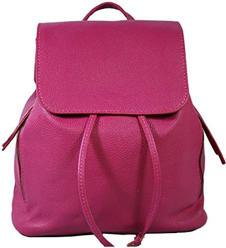 Ital. Echtleder Damen Rucksack Leichter Tagesrucksack Daypack Lederrucksack Damenrucksack versch. Farben erhältlich(Pink)
