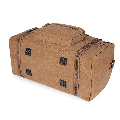 Plambag Segeltuch Unisex Handgepäck Reisetasche Sporttasche Größere Version Laptop Weekend Urlaub Tasche 50 Liter Updated (Grau) Kaffee