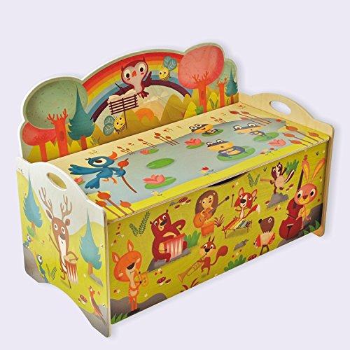 Dida - Baúles para juguetes de madera para niños - Animales en concierto en el bosque