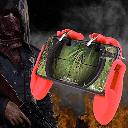NszzJixo9 Mobile Gamepad Controller Trigger Fire Button Shooter für iOS Android Handy Portable Controller Gamepad mit Triggern Shooter Sensitive Joystick rot