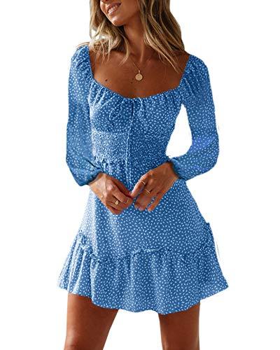 60347404f31204 Ybenlover Damen Blumen Sommerkleid High Waist Volant Kleid Vintage  Minikleid Strandkleid (L, A-Blau)
