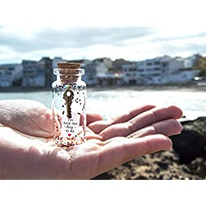 You hold the key to my heart / to your happiness. Message in a bottle. Miniatures Personalised Gift. Special greeting card. Love card