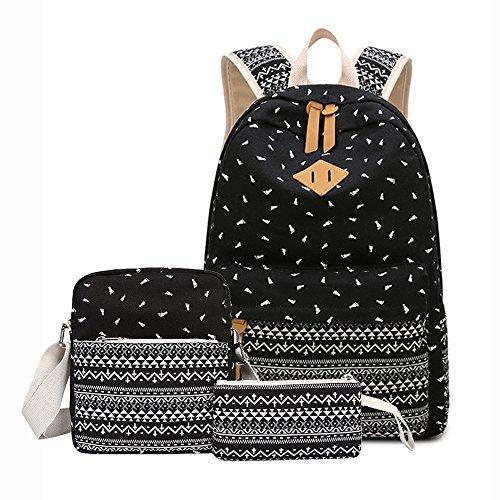 Imagen de susutop set de 3  escolares juveniles para chicas lona mujer tela casual bolsa escolar niña ordenadores portátiles de +bolso de bandolera+monedero negro