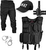 normani Winter SWAT Kostüm bestehend aus wattierter Weste, Rangerhose, Pistolenholster, SWAT Cap und Handschellen Größe L