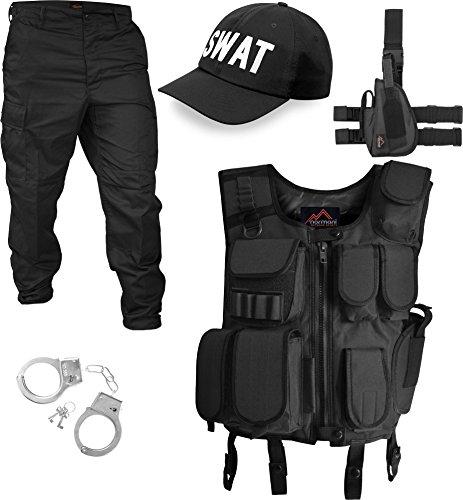 normani SWAT/Security/Police Kostüm bestehend aus Weste, Hose, Pistolenholster, Cap und Handschellen [S-5XL] Farbe SWAT Größe L