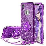 OCYCLONE iPhone XR Hülle, Lila Glitzer Handyhülle iPhone XR Schutzhülle mit Ring 360 Grad Ständer, Diamant Glitzer Case für Mädchen Frauen iPhone XR Hülle 6,1 Zoll