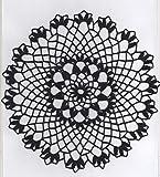 Wunderschönes Häkeldeckchen rund aus schwarzem Baumwollgarn