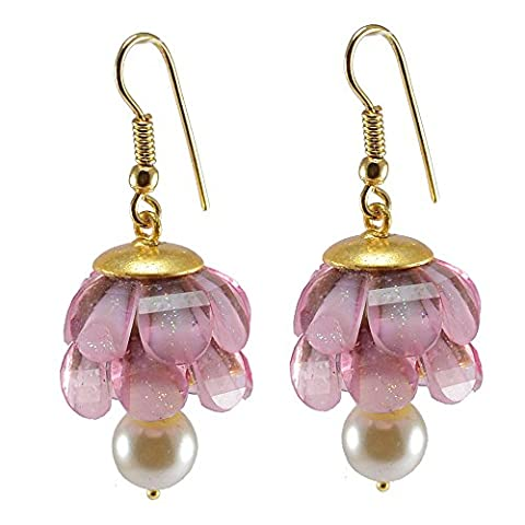 Silvestoo India Pink Crystal & Pearl Gold Plated Earring PG-131919