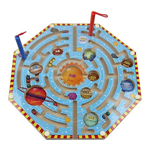 hibote Magnet Puzzle Maze Kinder Holzspielzeug magnetischen Labyrinth Bildungs Spiele für Kinder - Neun Planeten (Magnet-labyrinth Puzzle)