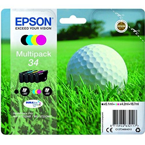 Epson original - Epson WorkForce Pro WF-3720 Series (34 / C13T34664020) - Tintenpatrone MultiPack (schwarz, cyan, magenta, gelb) -